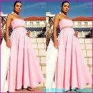 A-line Bridal Prom Dress Strapless Maternity Pink Chiffon Wedding Dress H28 Sz6 8 10 12 14 16+