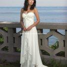 A-line Bridal Prom Dress Strapless White Satin Chiffon Beach Wedding Dress H1 Sz6 8 10 12 14 16+