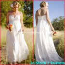 A-line Bridal Prom Dress Strapless White Chiffon Maternity Beach Wedding Dress H8 Sz6 8 10 12 14 16+