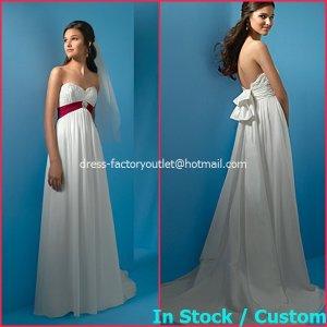 A-line Bridal Dress Strapless White Red Chiffon Maternity Beach Wedding Dress H11 Sz6 8 10 12 14 16+