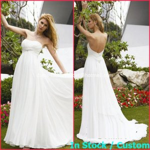 A-line Bridal Dress Strapless White Chiffon Maternity Beach Wedding Dress H36 Sz6 8 10 12 14 16+