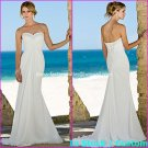 A-line Bridal Dress Strapless White Chiffon Pregnant Beach Wedding Dress H46 Sz6 8 10 12 14 16+