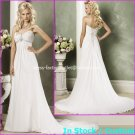 A-line Bridal Dress Strapless White Chiffon Maternity Beach Wedding Dress H58 Sz6 8 10 12 14 16+