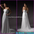 A-line Bridal Dress Strapless White Chiffon Silver SASH Beach Wedding Dress H58 Sz6 8 10 12 14 16+