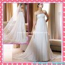 A-line Bridal Dress Strapless Pleated White Chiffon Beach Wedding Dress H65 Sz6 8 10 12 14 16+