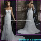 A-line Bridal Dress Strapless White Chiffon Sweethart Beach Wedding Dress H58 Sz6 8 10 12 14 16+