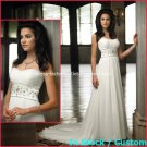 A-line Bridal Dress Strapless White Chiffon Jeweled Beach Wedding Dress H2 Sz6 8 10 12 14 16+