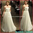 A-line Bridal Dress Strapless Ivory Chiffon PEARlS Beach Wedding Dress mg321 Sz6 8 10 12 14 16+