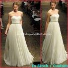 A-line Bridal Dress Strapless Ivory Chiffon PEARlS Beach Wedding Dress mg321 Sz6 8 10 12 14 16+