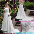 A-line Bridal Dress Strapless White Chiffon Jeweled Beach Wedding Dress h50 Sz6 8 10 12 14 16+