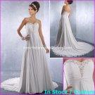 A-line Bridal Dress Strapless White Chiffon Jeweled Beach Wedding Dress h54 Sz6 8 10 12 14 16+