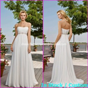 A-line Bridal Dress Strapless White Chiffon Beade Beach Wedding Dress H55 Sz6 8 10 12 14 16+
