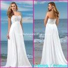 A-line Bridal Dress Strapless White Chiffon Embroidery Beach Wedding Dress h82 Sz6 8 10 12 14 16+