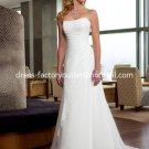 A-line Slim Bridal Dress Strapless White Chiffon Beaded Beach Wedding Dress Sz6 8 10 12 14 16 18+