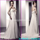 A-line Bridal Dress Strapless White Silk Chiffon Lace Jeweled Wedding Dress Sz6 8 10 12 14 16+