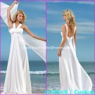 A-line Bridal Dress 2 Straps White Chiffon Beach Wedding Dress Sz6 8 10 12 14 16+