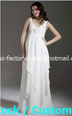 A-line Bridal Dress Sleeveless V-neck White Chiffon Maternity Wedding Dress Sz6 8 10 12 14 16+