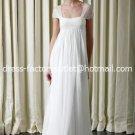 A-line Bridal Dress Cap Sleeves White Chiffon Maternity Wedding Dress Sz6 8 10 12 14 16+