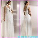 A-line Bridal Dress V-neck White Ivory Silk Chiffon Empire Wedding Dress Sz6 8 10 12 14 16+