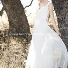 A-line Bridal Dress U-neck White Ivory Chiffon Empire Wedding Dress Sz6 8 10 12 14 16+