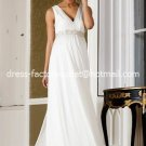 A-line Bridal Dress V-neck White Ivory Chiffon Empire Wedding Dress Sz 4 6 8 10 12 14 16+