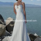 A-line Bridal Dress Beaded Straps White Ivory Chiffon Empire Wedding Dress Sz 4 6 8 10 12 14 16+