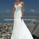 A-line Bridal Dress Beaded Strapless White Ivory Chiffon Empire Wedding Dress Sz 4 6 8 10 12 14 16+
