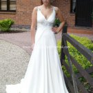 A-line Bridal Dress Jeweled V-neck White Chiffon Backless Empire Wedding Dress Sz 4 6 8 10 12 14+
