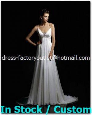 A-line Sexy Bridal Dress Cross Back White Chiffon Empire Wedding Dress Sz 4 6 8 10 12 14+