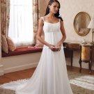 A-line Bridal Dress Cap Sleeves White Chiffon Beaded Empire Wedding Dress Sz 4 6 8 10 12 14+