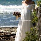 A-line Bridal Dress SHort Sleeves White Chiffon Empire Maternity Wedding Dress Sz 4 6 8 10 12 14+