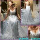 A-line Bridal Dress Sexy White Silk Chiffon Embrpoidery Empire Wedding Dress Sz 4 6 8 10 12 14+