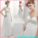 A-line Bridal Dress Sexy White Chiffon Jeweled Empire Wedding Dress Sz 4 6 8 10 12 14+