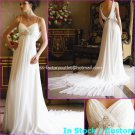 A-line Bridal Dress Spaghett Straps White Chiffon Backless Back Wedding Dress Sz 4 6 8 10 12 14+