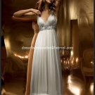 A-line Bridal Dress V-neck White Chiffon Silver Beads SASH Wedding Dress Sz 4 6 8 10 12 14+