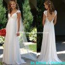 A-line Bridal Dress Cap Sleeves V-neck White Chiffon Empire Wedding Dress Sz 4 6 8 10 12 14+