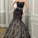 Black Lace Bridal Gown Strapless Sweetheart Wedding Dress Mermaid Bridal Ball Gown Sz 2 4 6 8 10 12+