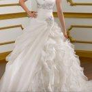 A-line Ivory White Bridal Gown Organza Wedding Dress V-neck Bridal Ball Gown Sz 2 4 6 8 10 12+