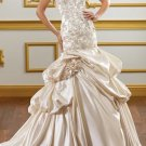 A-line CHAMPAGNE Bridal Gown Embroidery Wedding DresS Strapless Bridal Ball Gown Sz 2 4 6 8 10 12+