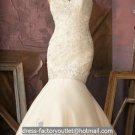 Ivory Lace Rhinestone Bridal Gown Strapless Wedding Dress Mermaid Bridal Ball Gown Sz 2 4 6 8 10 12+