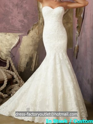 Ivory White Lace Bridal Gown Strapless Wedding Dress Mermaid Bridal Gown & Jacket Sz 2 4 6 8 10 12+