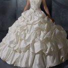 A-line Ivory Bridal Gown Strapless Taffeta Wedding Dress Bridal Ball Gown Sz 2 4 6 8 10 12+