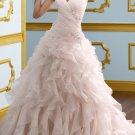 Ivory White Bridal Gown V-neck Pink Organza Wedding Dress A-ine Bridal Ball Gown Sz 2 4 6 8 10 12+