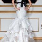 White Bridal Gown Strapless Organza Wedding Dress Black SASH Mermaid Bridal Gown Sz 2 4 6 8 10 12+