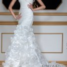 Ivory White Bridal Gown One Shoulder Roses Wedding Dress Mermaid Bridal Gown Sz 2 4 6 8 10 12+
