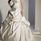 Ivory Satin Wedding Gown Strapless Wedding Dress Beaded Flowers Bridal Gown Sz2 4 6 8 10 12+