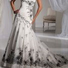Strapless Bridal Ball Gown Black Embroidery Corset Top A-line Wedding Dress Sz4 6 8 10 12 14+