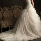 Champagne Lace Tull Ball Strapless Wedding Dress Cascading Ruffles Bridal Gown Sz4 6 8 10 12 14+