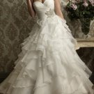 A-line White Organza Ball Strapless Wedding Dress Cascading Ruffles Bridal Gown Sz4 6 8 10 12 14+