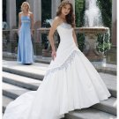 A-line White Taffeta Ball Gown Strapless Wedding Dress Blue Embroidery Bridal Gown Sz4 6 8 10 12 14+